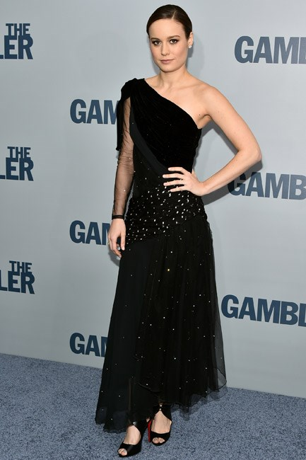 A little bit 20s, Brie Larson looks retro-fabulous in a one-shoulder Rodarte number.