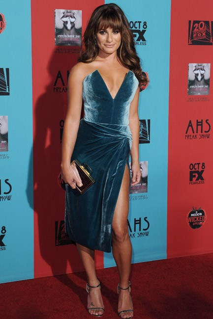 Lea Michele's Cushine et Ochs gown was the picture of seriously sexy styling in a divine velvet finish.