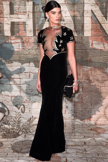 Velvet-met-metallic in Crystal Renn's stunning Chanel getup.