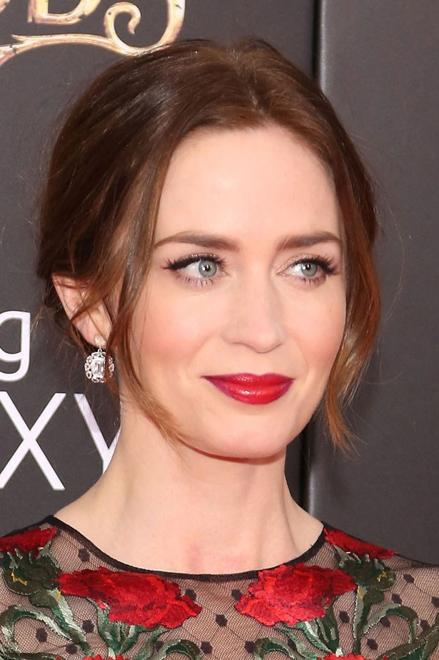 <p>The combination of red lipstick and winged out eyeliner is called 'classic' for good reason. </p> <em>Emily Blunt</em>