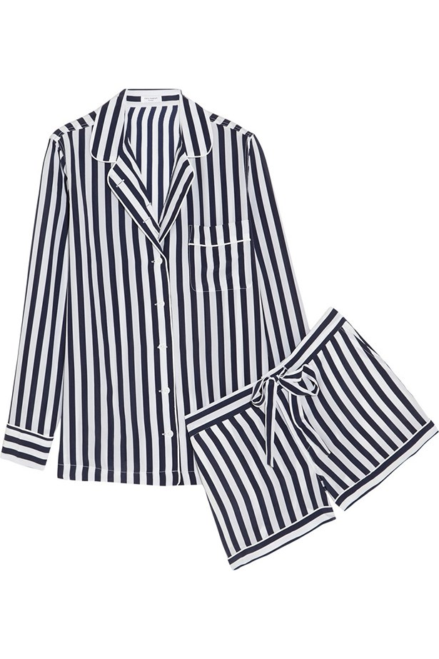 "<a href=""http://www.net-a-porter.com/product/519882/Equipment/lilian-striped-washed-silk-pajama-set"">Pyjamas, $678, Equipment, net-a-porter.com</a>"