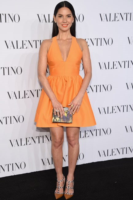 Olivia Munn was a lady-like tangerine dream in Valentino.