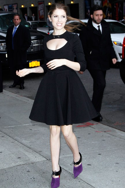 Décolletage and legs stepped into the spotlight when Anna Kendrick stepped out in a full-circle Carven dress.