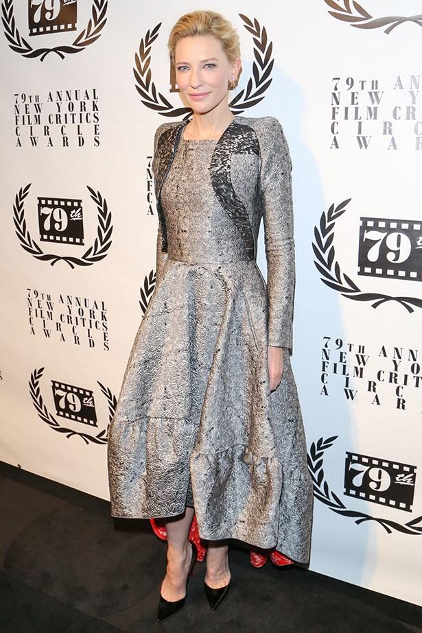 Cate Blanchett <br> Wearing: Antonio Berardi<br> Where: New York Film Critics Circle Awards