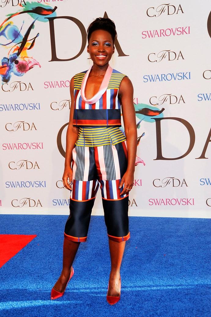Lupita Nyong'o <br> Wearing: Suno culottes and top<br> Where: 2014 CFDA Fashion Awards