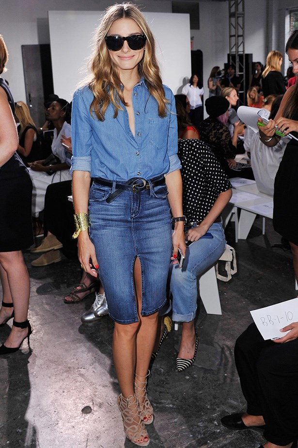 Olivia Palermo <br> Wearing: Topshop denim shirt and Black Orchid skirt Where: New York Fashion Week SS15