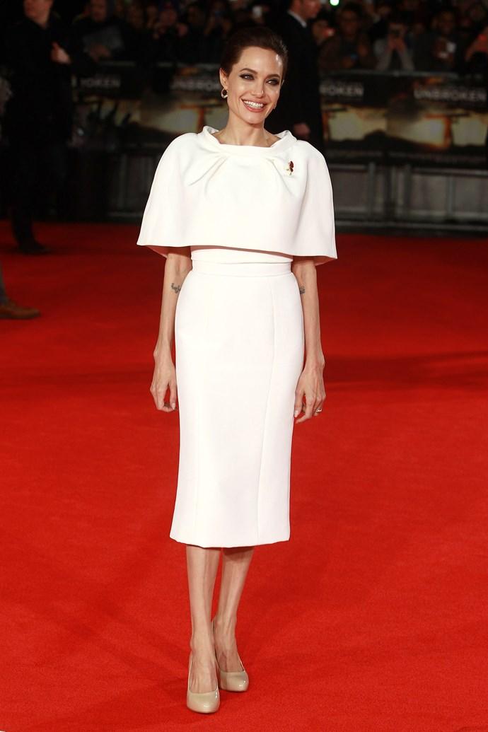Angelina Jolie <br> Wearing: Ralph & Russo <br> Where: <em>Unbroken</em> premiere in London <br>