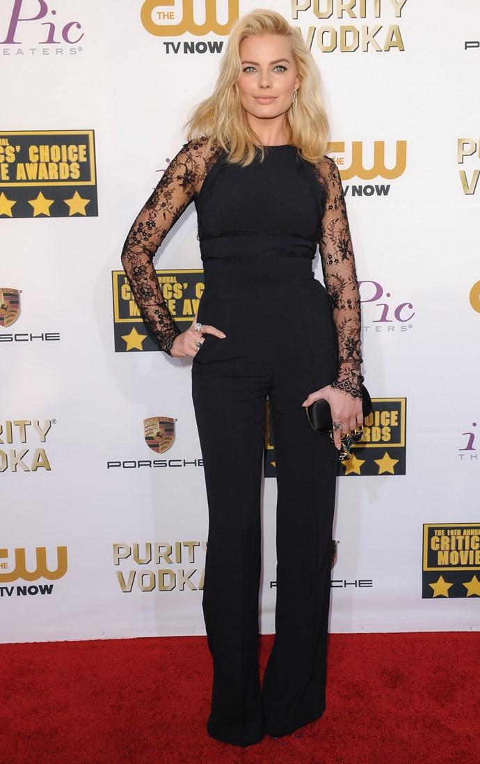Margot Robbie <br> Wearing: Elie Saab<br> Where: Critics' Choice Movie Awards 2014