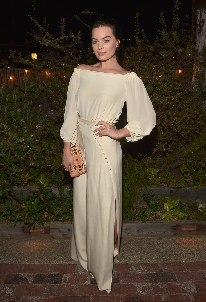 Margot Robbie<br> Wearing: Carmella top and pants with Jacquie Aiche jewels <br> Where: Carmella dinner