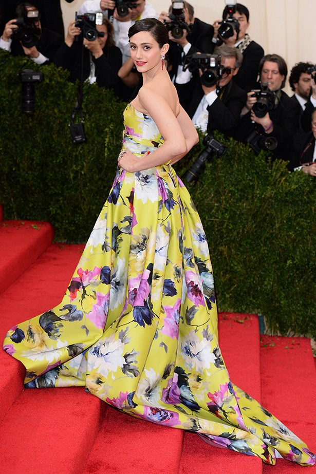 <strong>Elegant rebel: Emmy Rossum</strong> <br> Wearing: Carolina Herrera  <br> Where: Metropolitan Museum of Art's Costume Institute Gala