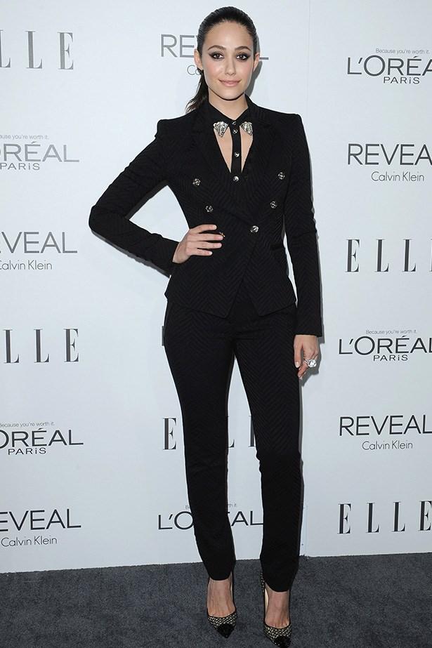 Emmy Rossum <br> Wearing: Versace <br> Where: <em>ELLE</em>'s annual Women In Hollywood celebration