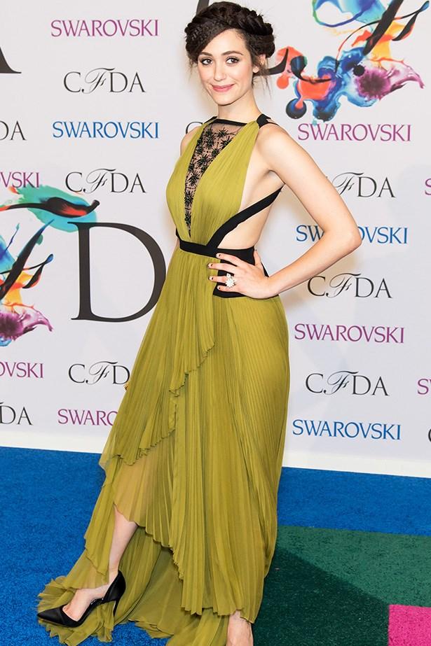 Emmy Rossum <br> Wearing: J. Mendel <br> Where: 2014 CFDA Fashion Awards <br>