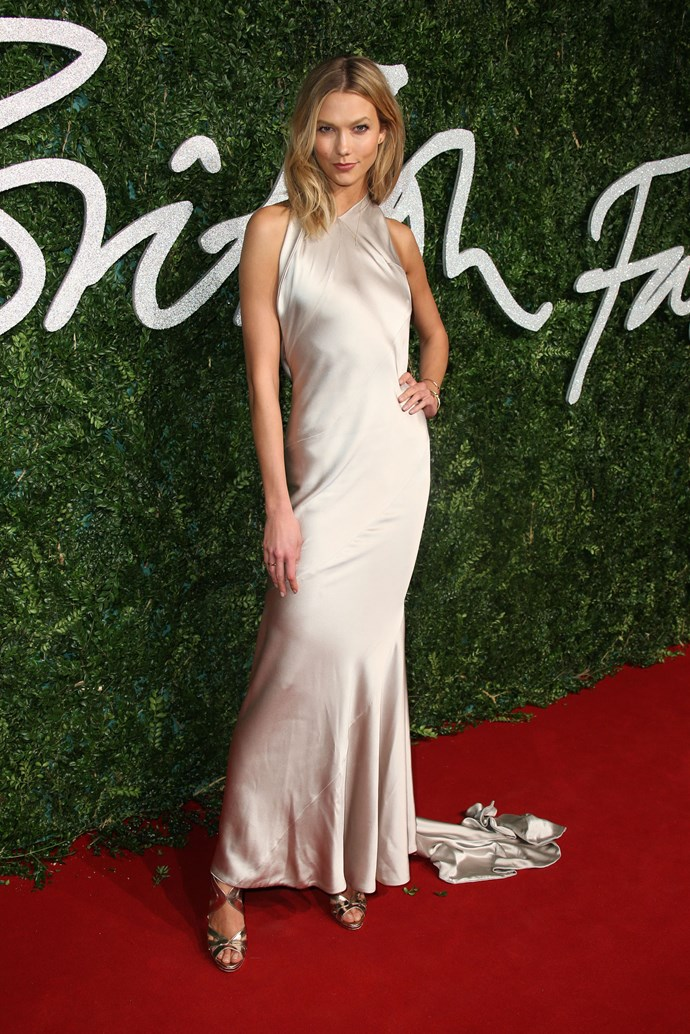 <strong>Most glamorous: Karlie Kloss </strong><br> Wearing: Nicholas Oakwell<br> Where: British Fashion Awards 2014