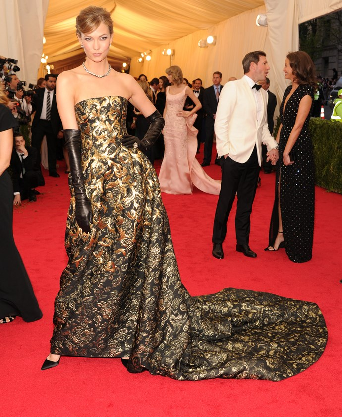 Karlie Kloss<br> Wearing: Oscar de la Renta <br> Where: Metropolitan Museum of Art's Costume Institute Gala