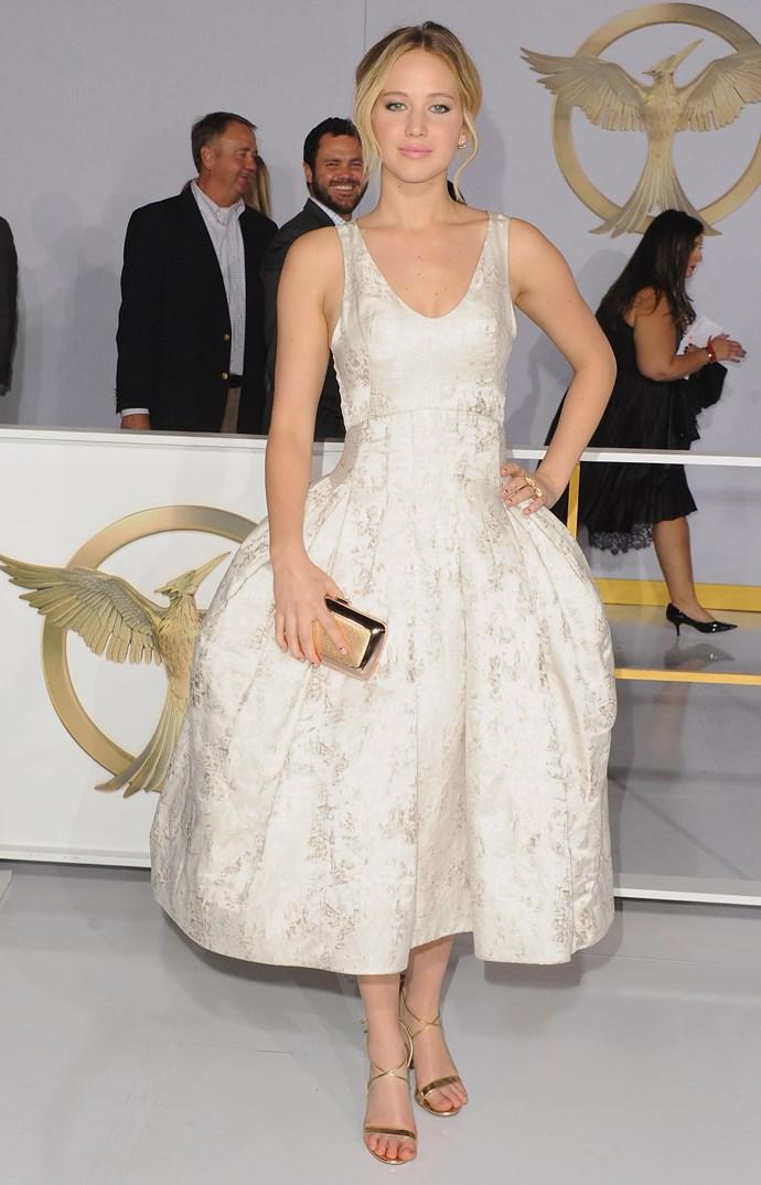 <strong>Most dramatic: Jennifer Lawrence </strong><br> Wearing: Christian Dior <br> Where: LA premiere of <em>The Hunger Games: Mockingjay – Part 1 </em>