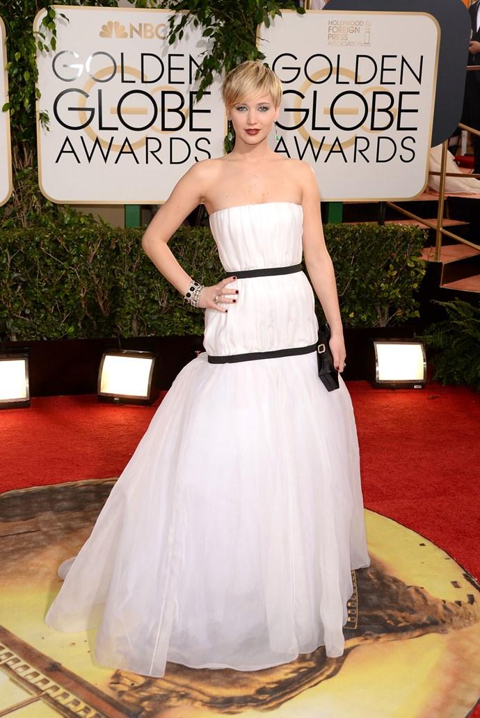 Jennifer Lawrence <br> Wearing: Christian Dior <br> Where: Golden Globe Awards <br>