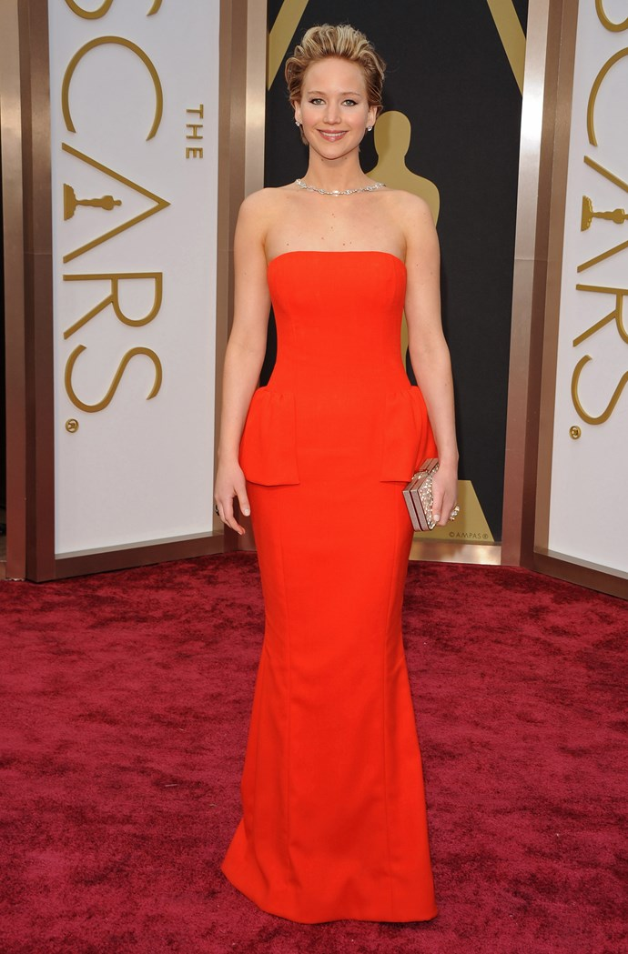 Jennifer Lawrence<br> Wearing: Christian Dior <br> Where: Oscars 2014