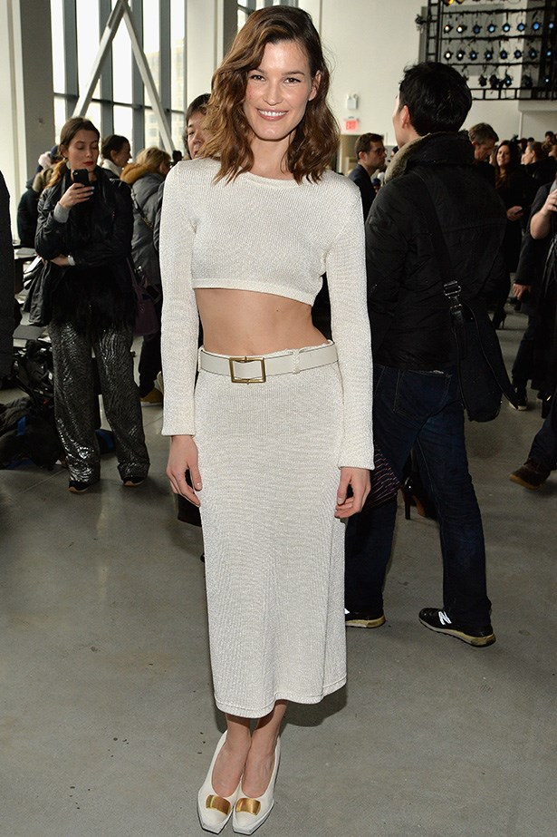 Hanneli Mustaparta<br> Wearing: Calvin Klein <br> Where: New York Fashion Week <br>