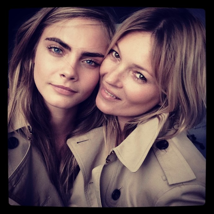 <strong>Trench love</strong> <br>Power duo Cara Delevingne and Kate Moss appear in Burberry fragrance campaign together. Then they hold hands at the SS15 Burberry Prorsum show. We can't get enough. <br/>