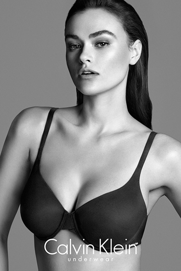 <strong>Google plus</strong> <br>American model Myla Dalbesio models for a Calvin Klein underwear campaign. The 27-year-old is a US size ten (Australian size 14) but,  refreshingly, Calvin Klein doesn't make a big deal out of it. Everybody else does.<br/>