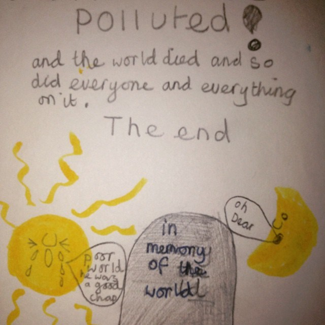 "<strong>Alexa Chung</strong> <br> Hands up who went home for Christmas and ended up going through old boxes of childhood toys, books and drawings? So did Alexa. She posted this image on Christmas Day from a book she created as a child about pollution.. noting that ""she's always had a dark side."" <br><br> Instagram: @chungalexa"