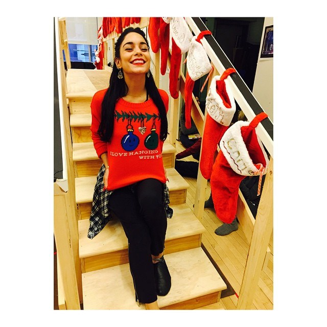 <strong>Vanessa Hudgens </strong><br> And the award for  Best Collection of Christmas Jumpers goes to... Vanessa Hudgens! Who posted not one, but three knitted festive gems. One. <br><br> Instagram: @vanessahudgens