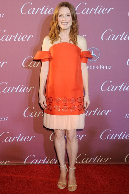 Looking cool in colour-block, Julianne Moore was a vision at the Palm Springs International Film Festival.