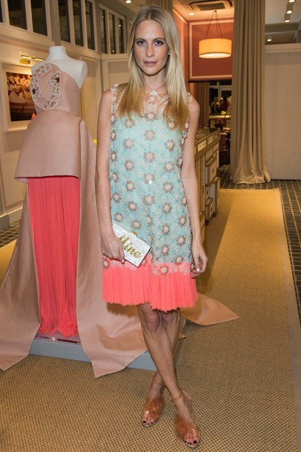 Poppy Delevingne hosted a dinner for the brand in a delicate drop-waist shift dress.