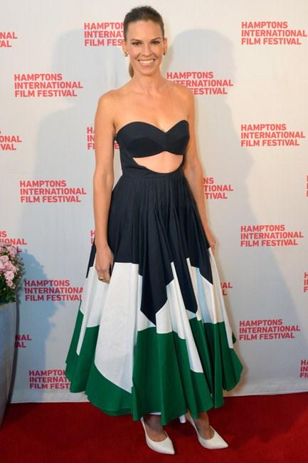 Fifties-<em>esque</em>, flirty and fabulous: Hilary Swank at the Hamptons International Film Festival.