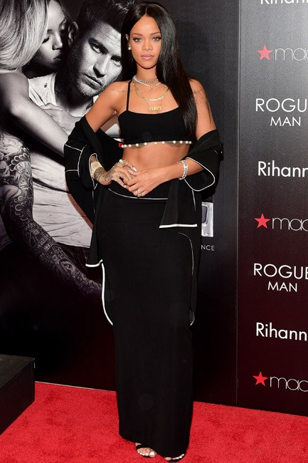 Rihanna's Adam Selman ensemble sure showed some skin and the pearl accents gave it a sophisticated touch.