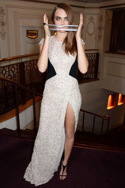 <strong>Cara Delevingne</strong><br> Predictably unexpected, forever the red-carpet joker.