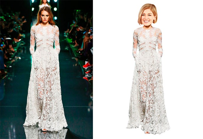 <strong>Rosamund Pike <BR></strong> Nominated for: Best Actress in a Motion Picture, Drama <BR> What we predict she might wear:<strong> Elie Saab SS15 </strong><BR> Hair style prediction: loose lob <BR> Lip colour: nude <BR>