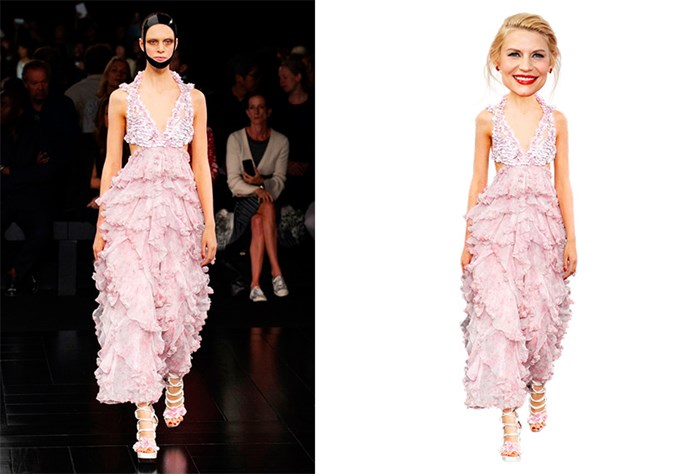 <strong>Claire Danes</strong> <br> Nominated for: Best Actress in a TV Series, Drama <br> What we predict she might wear: <strong>Alexander McQueen SS15</strong> <br> Hair style prediction: a low-hung bun <br> Lip colour: pastel pink <br>