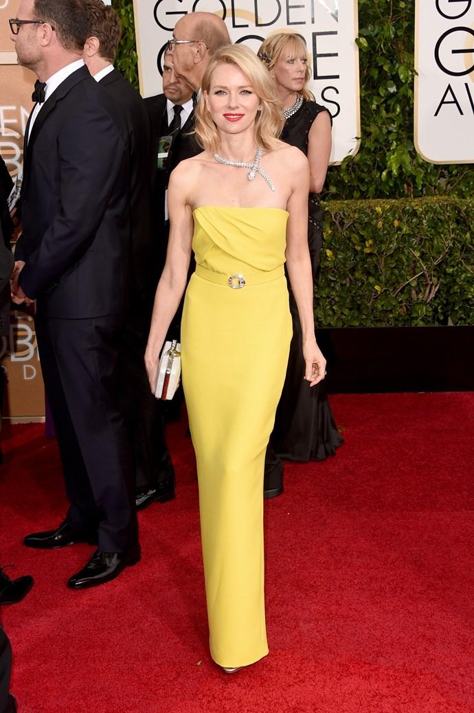 Naomi Watts wearing Gucci and Bulgari jewellery
