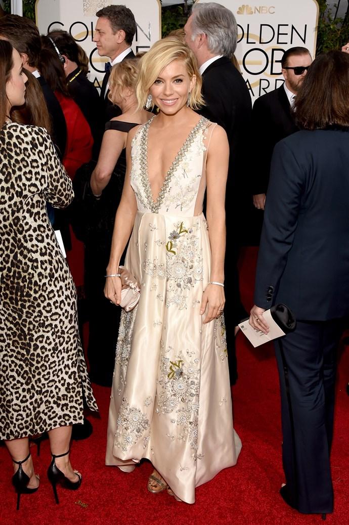 Sienna Miller wearing Miu Miu