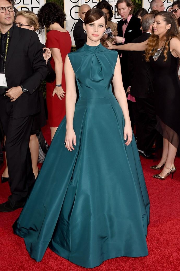 Felicity Jones wearing Christian Dior and Van Cleef & Arpels jewellery