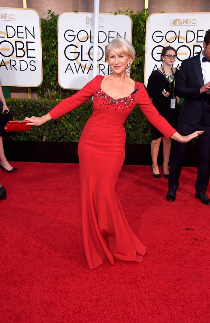 Helen Mirren wearing Dolce & Gabbana and Chopard jewellery