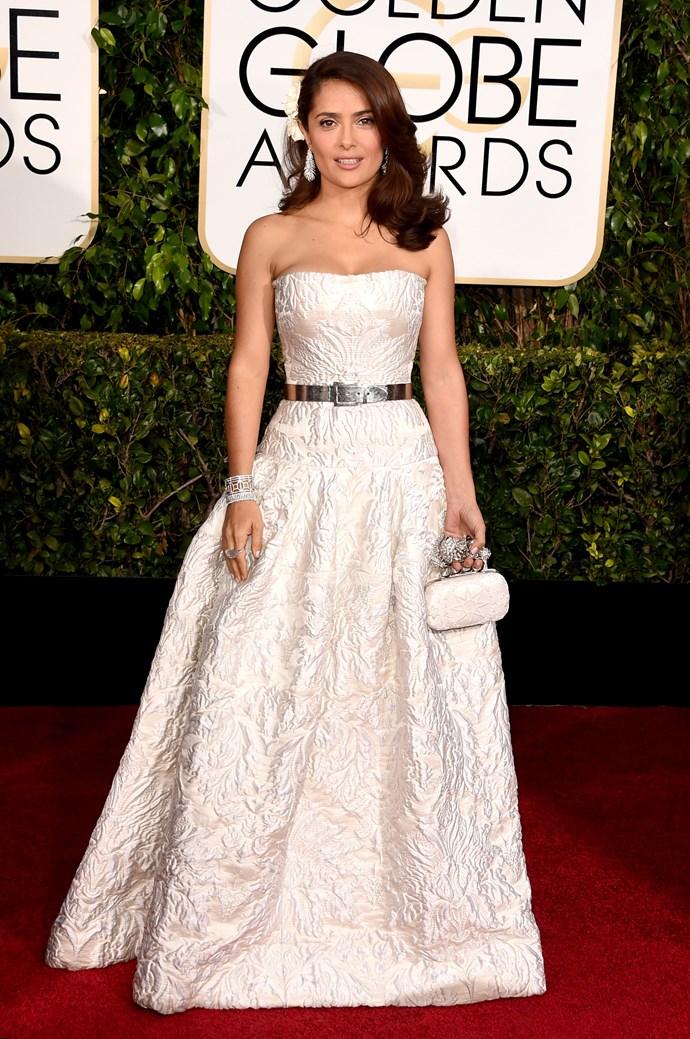Salma Hayek wearing Alexander McQueen