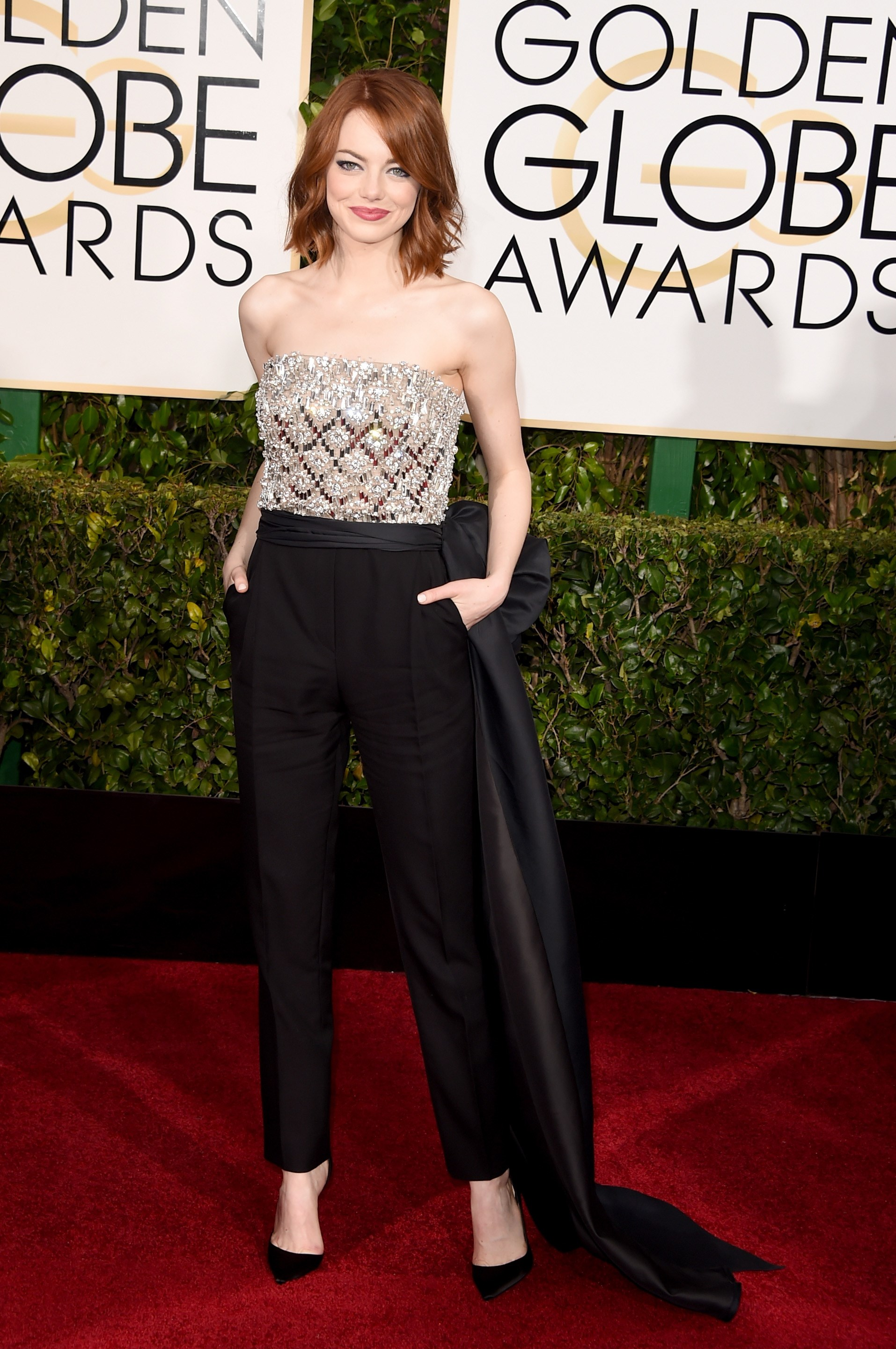Emma Stone wearing Lanvin and Christian Louboutin shoes