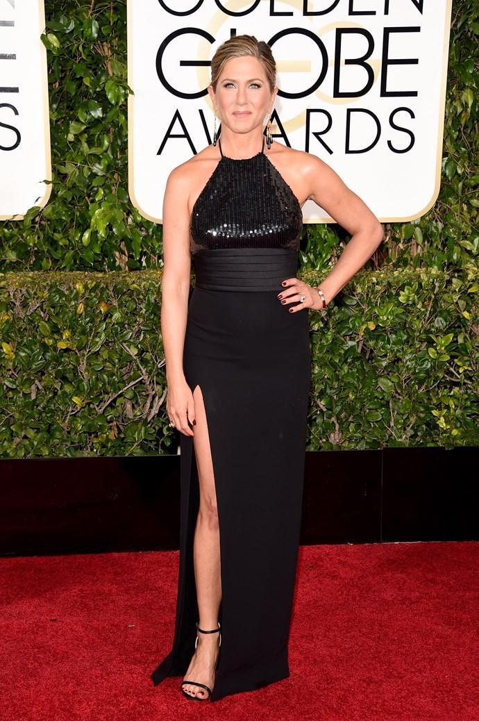 Jennifer Aniston wearing Saint Laurent and Neil Lane jewellery