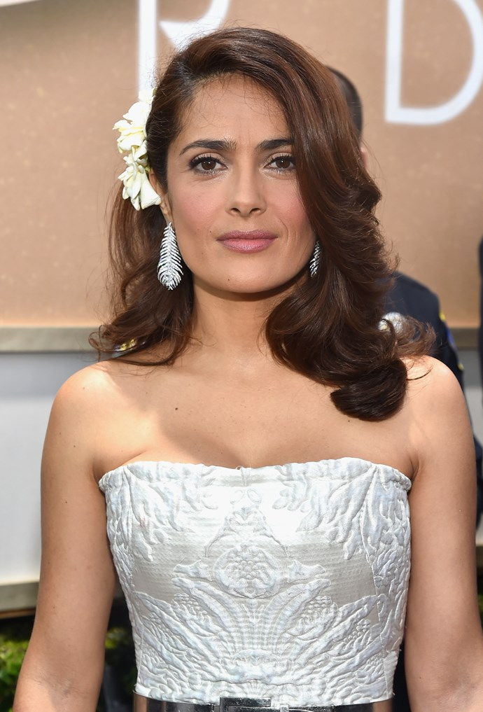 """Salma Hayek <br><br> """"Everything works well except the flower headpiece. The colour is superb and I love the '40s feeling,"""" said Brad Ngata."""