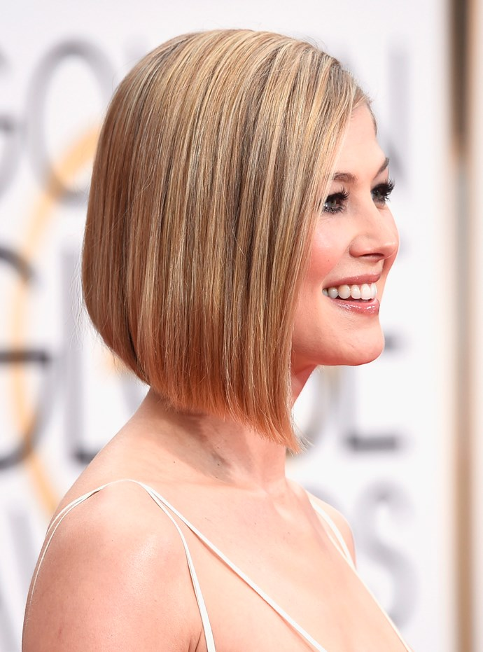 """<strong>Rosamund Pike <br><br></strong> """"Classic bobs are a big hit for 2015. The trick to getting it right is to find a fantastic hair cutter,"""" said Brad Ngata."""