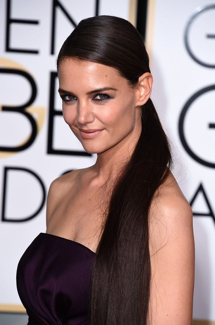 """<strong>Katie Holmes<br><br></strong> """"Is there a pony out there missing its poor tail? Don't get me wrong I really think Holmes' shiny mane is directional and high fashion but, I think the length should have been halved for this occasion."""" said Anthony Nader."""