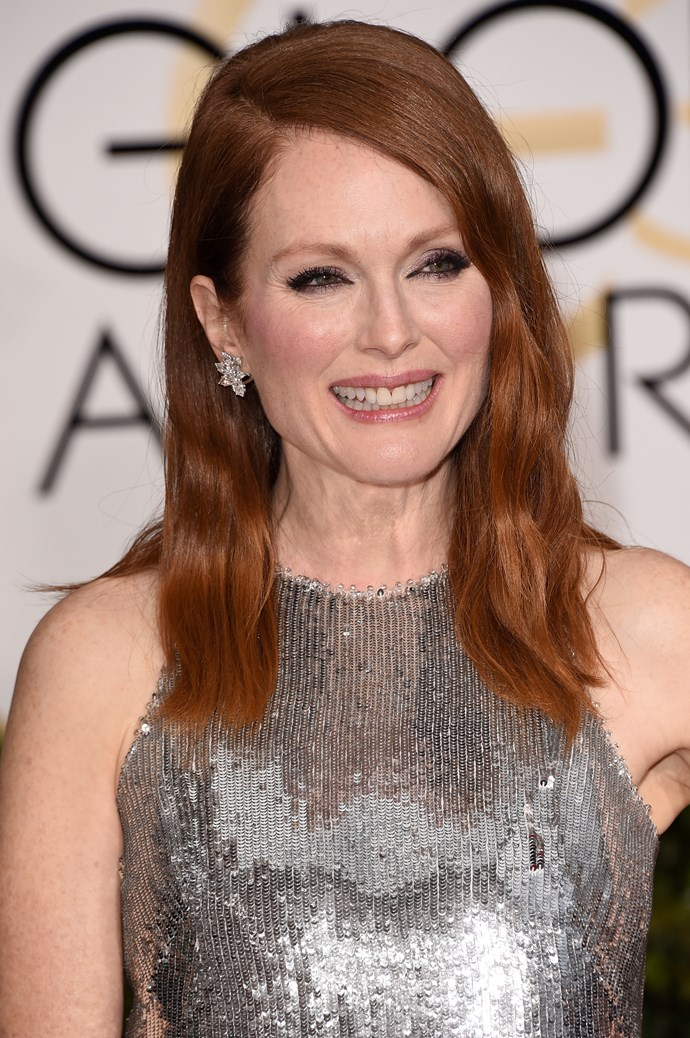 """Julianne Moore <br><br> """"So effortlessly stunning and perfectly offsets her Givenchy gown. WINNER!"""" said Anthony Nader."""