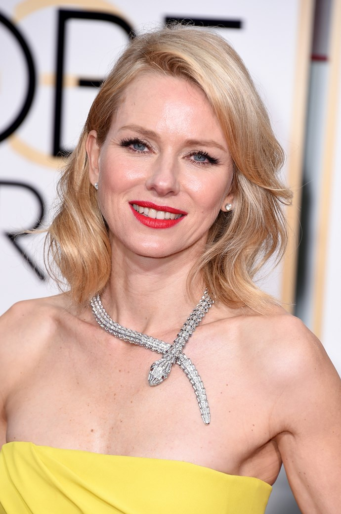 """<strong>Naomi Watts <br><br></strong> """"I love the creamy colour. It's a very chic and effortless hairstyle,"""" said Brad Ngata."""
