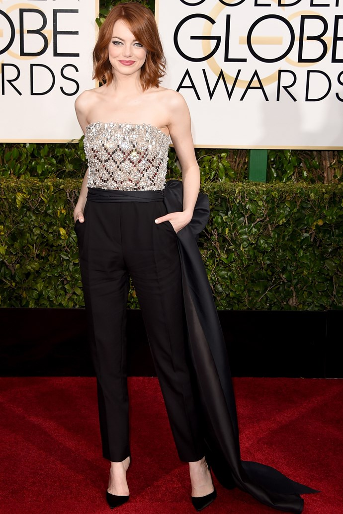 """Updated New Year's resolution: be more like <strong>Emma Stone</strong> in this Lanvin jumpsuit. Always. <br><br> <em>Related: <a href=""""http://www.elle.com.au/fashion/celebrity-style/2014/4/emma-stones-best-looks/"""">Emma Stone's best looks</a></em>"""