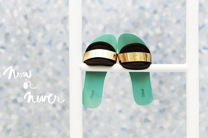"Chloé slides on <a href=""http://www.garancedore.fr/en/2014/02/24/now-or-never-slides/"">Garance Doré</a>"