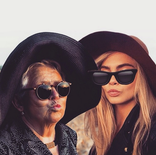 "Which was then comp'd with Cara's face (plus sunnies), this was after Granny posted one without Cara wearing sunglasse (which Cara re-grammed). GrannyGram said ""You surprised me with a following, I surprise you with new sunglasses. Now we are real twins @caradelevingne"""