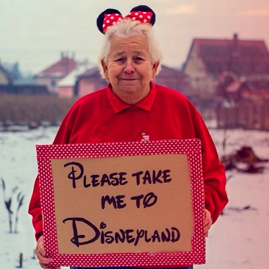 @thegrannygram's first post: a request to take her to Disneyland. Please, can we start a kickstarter fund already? And make Cara take her?