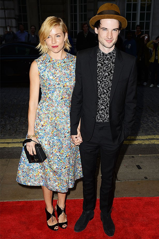 In Roksanda at the <em>Effie Gray</em> premiere with fiancé, Tom Sturridge